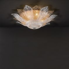 Ceiling lamp with mixed Murano crystal leaves of the STELLA collection Designed and produced in Greece by MAVROS Lighting. Powder Paint, Gold Powder, Ceiling Lamp, Ceiling Lights, Glass Material, Fashion Lighting, Classic Style, Greece, Chandelier