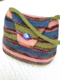 Little girls handmade purse felted little girl handbag felted green pink and blue purse Made by By Lala on Etsy