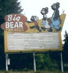 The Big Bear Drive-In was the typical American drive-in theatre icon on State Route between Poulsbo and Suquamish near the Agate Pass Bride. Roadside Signs, Roadside Attractions, Vintage Postcards, Vintage Signs, Vintage Tools, Advertising Signs, Vintage Advertisements, Donkey And Dragon, Land Of The Lost