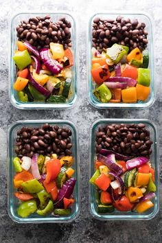 These Grilled Veggie & Black Bean Meal Prep Bowls are a great vegetarian meal prep option that will keep your oven off this summer.