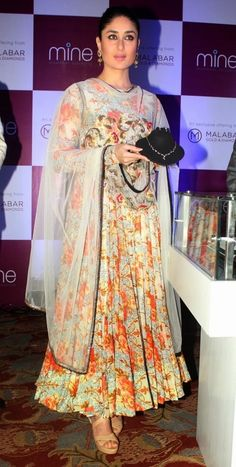 Kareena Kapoor in Floral Anarkali Suit Designed By Anamika Khanna at Malabar Gold Press Conference