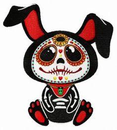 Bernina Embroidery Machine, Machine Embroidery Designs, Sugar Skull Owl, Dog Skull, Cigar Box Crafts, Photo Stitch, Day Of The Dead Art, Skull Artwork, Embroidered Cushions