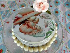 #Tarta #vintage con bizcocho de #chocolate americano y papel de azúcar Fotopastel.com