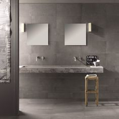 Thanks for you visiting Tile Inspiration HD Wallpaper in My Webite. Tile Inspiration HD Wallpaper is l. Small Bathroom Sinks, Grey Bathrooms, Modern Bathroom, Master Bathroom, Bathrooms Online, Concrete Look Tile, Concrete Bathroom, Cement, Mad About The House