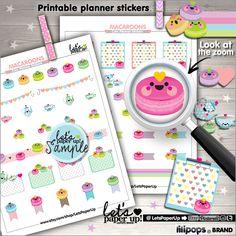 Macaron Stickers, Printable Planner Stickers, Tea Party Stickers, Erin Condren, Kawaii Stickers, Planner Accessories