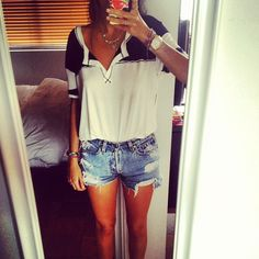 Denim Cutoff shorts with Black and White Tucked In Top #favorite_pin