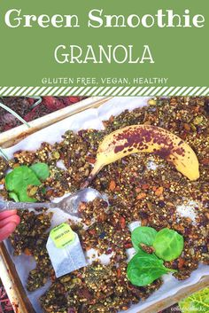 Want all the benefits of a green smoothie with the flavor of granola? Then this is the gluten free and vegan recipe for you! Loaded with hidden veggies, superfoods and healthy fats, this granola is guaranteed to please your taste buds and body! Vegan Granola, Gluten Free Granola, Vegan Gluten Free, Vegan Smoothies, Smoothie Recipes, Clean Eating Recipes, Clean Eating Snacks, Healthy Eating, Vegan Breakfast Recipes