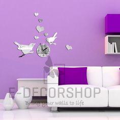 Perfect Mirror Wall Clock for Modern Home Design Birds Hearth eBay