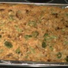 """Worlds' Best Broccoli Rice Cheese Casserole on BigOven: """"This goes well with Turkey and is also a good take-along for pot luck dinners. Brocolli Rice Cheese Casserole, Chicken Brocolli Rice, Vegetable Casserole, Pot Luck, Food Dishes, Side Dishes, Main Dishes, Dishes Recipes, Veggie Dishes"""