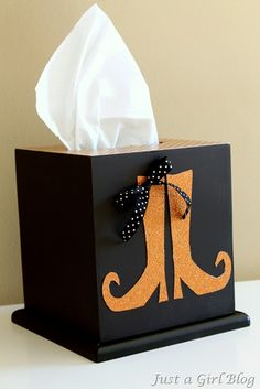 Halloween witch boots tissue box