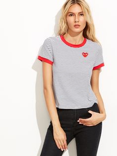 9$  Buy here - http://di0ig.justgood.pw/go.php?t=5892 - White Striped Embroidered Patch Ringer T-shirt 9$