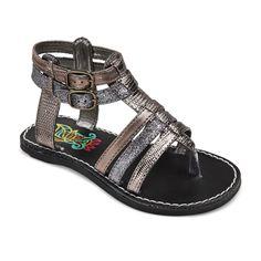 Toddler Girls' Rachel Shoes Lil Mercedes Gladiator Sandals - Metallic Pewter 11