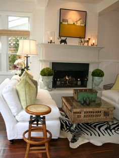 interiorstyledesign: The faux zebra-skin rug adds a touch of whimsy to a classic, semi-traditional room (via Beach House - eclectic - living room - los angeles - by Kelley & Company Home) Decor, Fireplace Design, Family Room, Christmas House Lights, Eclectic Living Room, Home Decor, Room, Room Design, White Fireplace