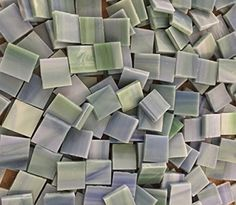1.3cm Green Blue Stained Glass Mosaic Tiles