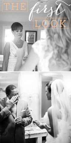 Parents seeing their daughter for the first time dressed and ready for her wedding.  A priceless moment!