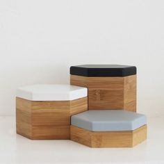 Hex Set of 3 Timber Boxes- Neutral Set