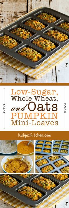 Low-Sugar, Whole Wheat, and Oats Pumpkin Mini-Loaves are a treat when you want something that's less sweet and a bit healthier than the usual pumpkin desserts you see this time of year! [found on KalynsKitchen.com] #PumpkinMiniLoaf #PumpkinBread #LowSugar #WholeWheat #Pumpkin #LowGlycemic