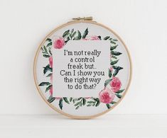 Im not really a control freak but xstitch cross stitch Cross Stitch Quotes, Cute Cross Stitch, Cross Stitch Designs, Cross Stitch Patterns, Knitting Patterns, Cross Stitching, Cross Stitch Embroidery, Funny Embroidery, Embroidery
