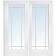 National Door Company Primed MDF 9 Lite Clear Glass, Left Hand Prehung  Interior Double Door, X
