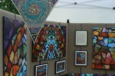 Art Glass Mosaic Prints amd Stained Glass Mandala at the King William Art Fair 2007