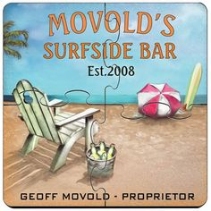 Surfside Bar Personalized Bar Coasters Puzzle Set. Idle hands do the devil's work. That's why we offer these unique custom coaster sets that double as both surface protectors and a miniature puzzle to provide endless hours of entertainment. Personalized Surfside Bar coaster sets include a place for two lines of text plus established year worked into a wide variety of full-color designs. These coasters are made to look like they came straight from the neighborhood pub, so