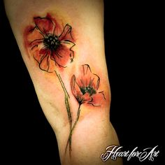 Watercolour Style Poppy Tattoo