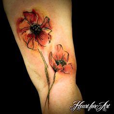 Watercolour Style Poppy Tattoo