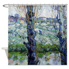 Van Gogh Flowering Orchards Shower Curtain