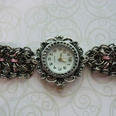 Chainmaille watch with lace pattern by Lily Zumb.  SOLD.    Orders can be Taken