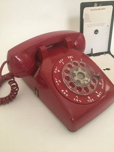 Bell phone, red telephone, retro phone, red rotary phone, red p