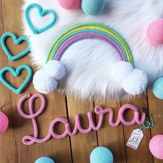 Diy Crafts For Kids Easy, Diy And Crafts, Wire Letters, Yarn Wall Art, Spool Knitting, Birthday Pins, Diy Home Accessories, Crochet Home Decor, Rainbow Art