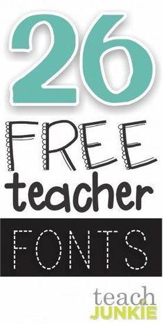 26 free fonts for teachers!