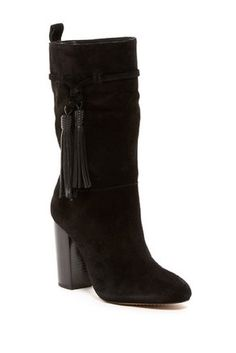Vince Camuto Black Fermel Suede Leather Slouch Tassels Boots/Booties Size US 9.5 Regular (M, B) - Tradesy