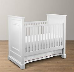 Restoration Hardware Baby and Child Marlowe Panel Crib - copycatchic Yellow Nursery, Baby Nursery Neutral, Baby Girl Bassinet, Old Baby Cribs, Pink Crib, Restoration Hardware Baby, Modern Crib, Cheap Bed Sheets, Decorative Mouldings