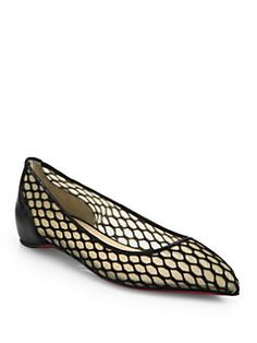 Christian Louboutin - Pigalle Mesh & Leather Point-Toe Flats