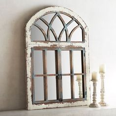We're fans of a mirror with character—particularly one with an antiqued blue finish. Carefully placed, our handcrafted mirror will create an illusion of surprise passageways with its casement framing topped by a faux fan transom. Garden Mirrors, Garden Windows, Arch Windows, Farmhouse Mirrors, Farmhouse Decor, Modern Farmhouse, Farmhouse Windows, Home Decor Kitchen, Diy Home Decor