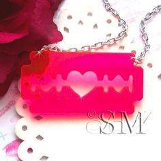 Hot pink Acrylic Razorblade Necklace By Essem Design