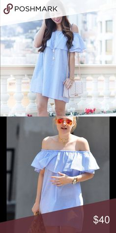 Zara off shoulder dress Adorable blue and white off shoulder dress! As seen on Dakota Fanning! Worn once. This product is still in stores! Zara Dresses Mini
