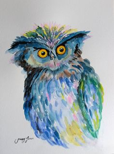 Original Watercolor Painting Owl  9x12 by LimonArtStudio on Etsy