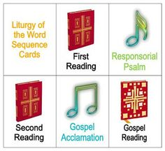 I should teach the parts of the liturgy AND the order in 3-4th grade Sunday School with this game ... Liturgy of the Word Sequence Card Game