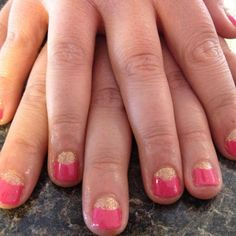 #summer #nails !!! By our very own Denise!!! #pink #gold #glitter