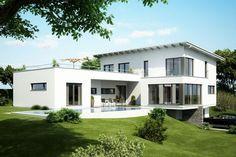 Fertighaus Architektenhaus Adamello, Einfamilienhaus mit grosser Dachterrasse und Pultdach