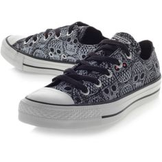63d77a3c4fc6 Converse Ct Skull Lace Low Black ( 27) ❤ liked on Polyvore featuring shoes