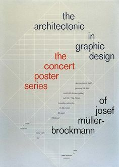 Josef Muller Brockmann. Exhibition poster. 1980. The grid, always underlying the Muller Brockmann's designs, becomes visible as a major element in this poster. International Typographic Style, Swiss Design, Icon Design, Layout Design, Graphic Design Layouts, Vintage Graphic Design, Typography Design, Bauhaus, Swiss Style