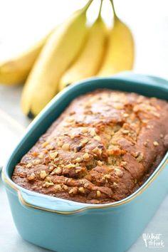 Easy gluten free banana bread, a staple breakfast recipe you'll make again and again. Recipe from @whattheforkblog | whattheforkfoodblog.com | gluten free bread | gluten free breakfast recipes | easy gluten free recipes