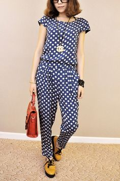 Dots Printing Cropped Length Jumpsuit