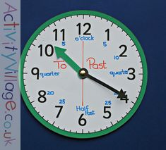 Adjusted green teaching clock from Activity Village Preschool Math, Math Classroom, Classroom Ideas, Maths Resources, Activities, Teaching Clock, Activity Village, Time Zones, Haifa
