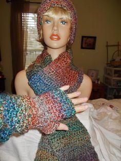 HAT SCARF FINGERLESS Gloves Set Multi Colored Soft by RedBudCrafts