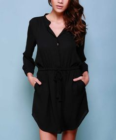 Look what I found on #zulily! Black Chiffon Shirt Dress by Lumière #zulilyfinds