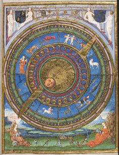 Medieval Illuminated Manuscripts, Astrology, The calendar shows the other festivals, movable and immovable, and also the course of the moon and other necessary observations are interpreted with following characters or signs, 1552. Astrology.